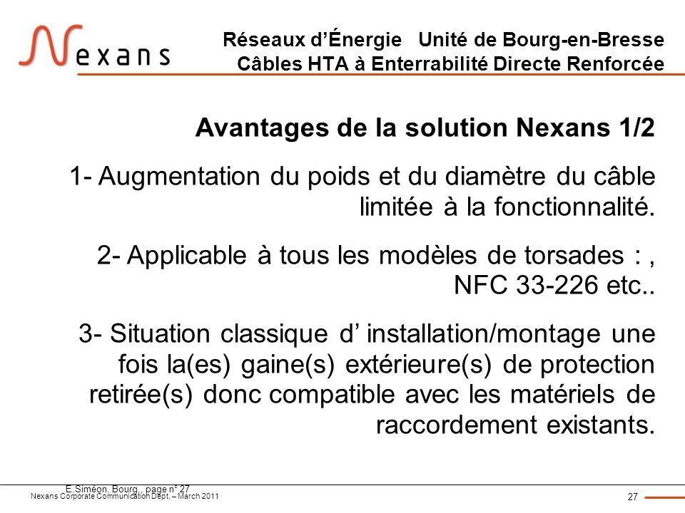 Nexans Corporate Communication Dept. – March 2011 27 E.Siméon, Bourg,, page n° 27 Réseaux dÉnergie Unité de Bourg-en-Bresse Câbles HTA à Enterrabilité