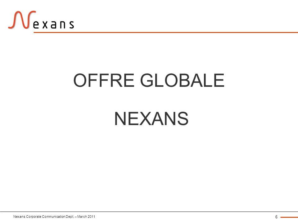 Nexans Corporate Communication Dept. – March 2011 6 OFFRE GLOBALE NEXANS