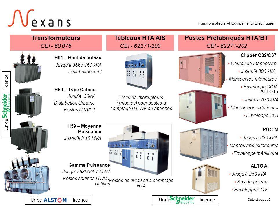 Date et page. 9 Transformateurs et Equipements Electriques Tableaux HTA AIS CEI - 62271-200 Cellules Interrupteurs (Trilogies) pour postes à comptage