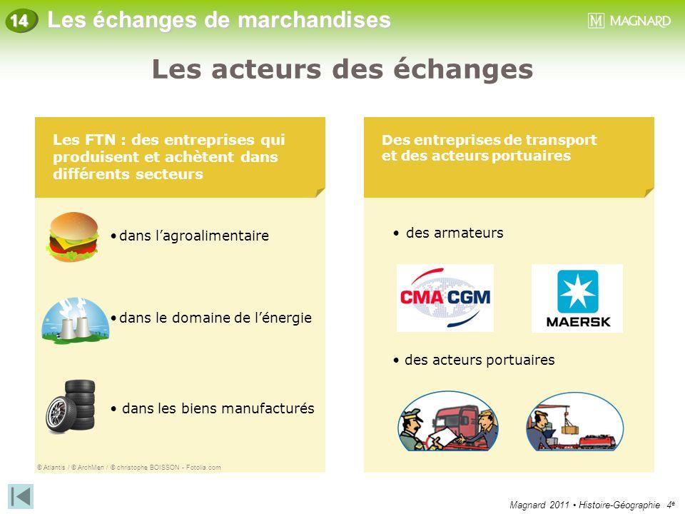 Magnard 2011 Histoire-Géographie 4 e Les échanges de marchandises 14 Des échanges qui augmentent Une part croissante de produits manufacturés Les échanges de marchandises