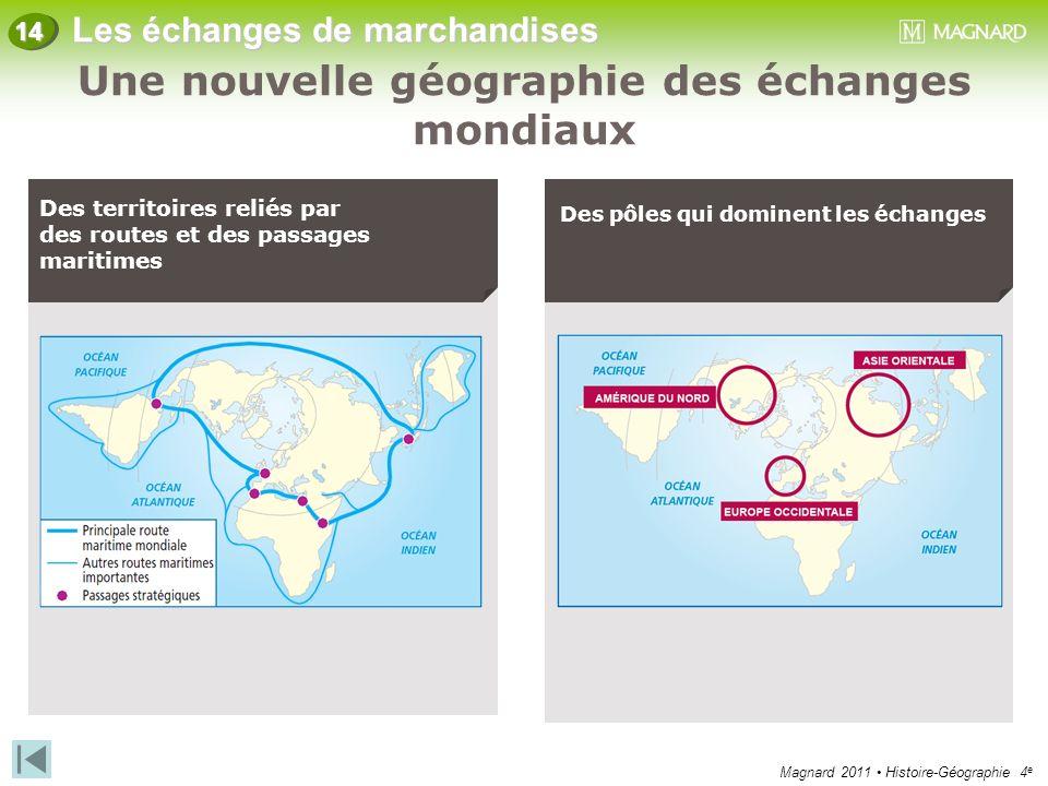 Magnard 2011 Histoire-Géographie 4 e Les échanges de marchandises 14 Des territoires reliés par des routes et des passages maritimes Des pôles qui dom
