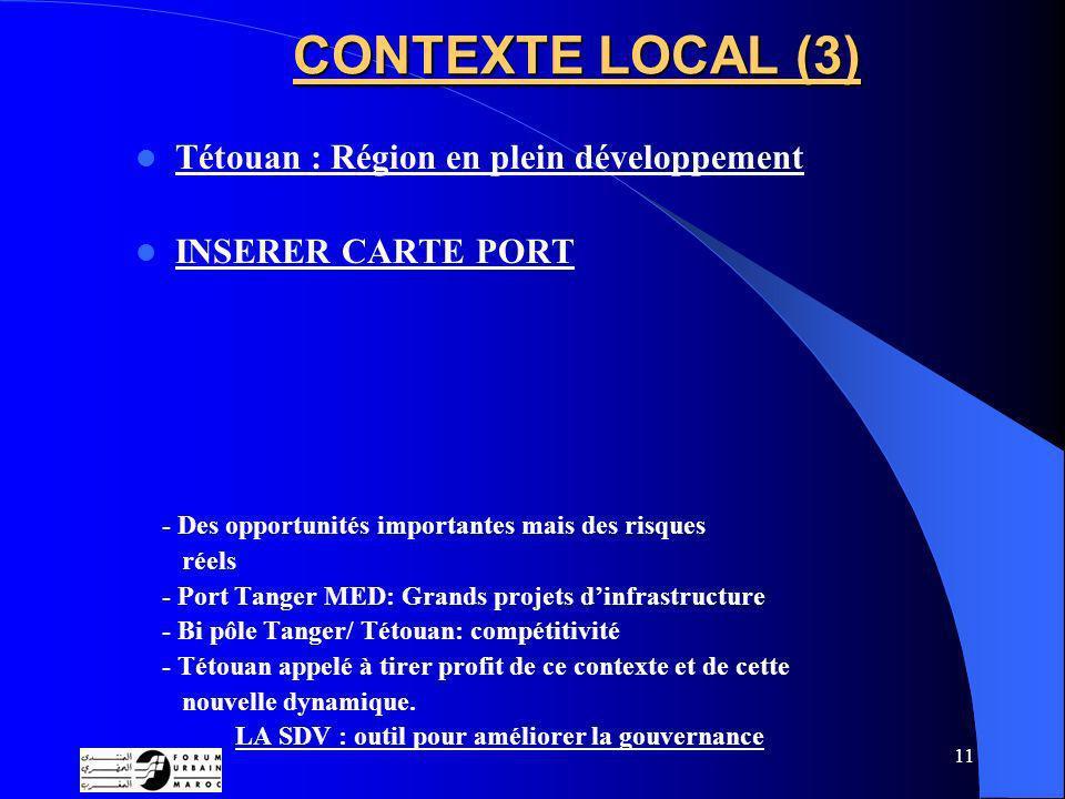 11 CONTEXTE LOCAL (3) Tétouan : Région en plein développement INSERER CARTE PORT - Des opportunités importantes mais des risques réels - Port Tanger MED: Grands projets dinfrastructure - Bi pôle Tanger/ Tétouan: compétitivité - Tétouan appelé à tirer profit de ce contexte et de cette nouvelle dynamique.