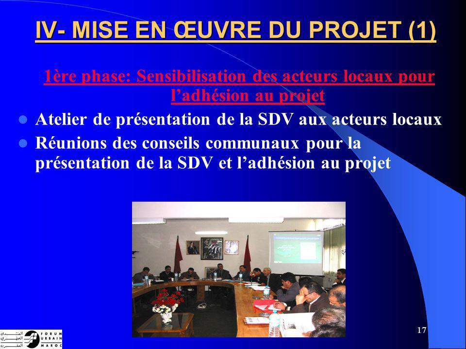 17 IV- MISE EN ŒUVRE DU PROJET (1) 1ère phase: Sensibilisation des acteurs locaux pour ladhésion au projet Atelier de présentation de la SDV aux acteurs locaux Réunions des conseils communaux pour la présentation de la SDV et ladhésion au projet