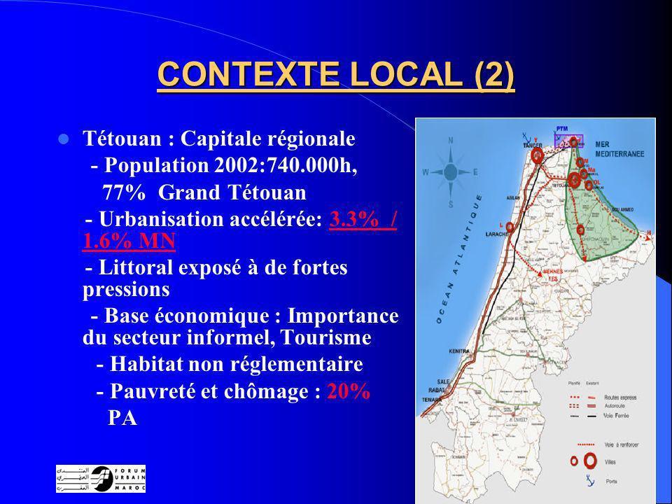 7 CONTEXTE LOCAL (2) Tétouan : Capitale régionale - Population 2002:740.000h, 77% Grand Tétouan - Urbanisation accélérée: 3.3% / 1.6% MN - Littoral exposé à de fortes pressions - Base économique : Importance du secteur informel, Tourisme - Habitat non réglementaire - Pauvreté et chômage : 20% PA