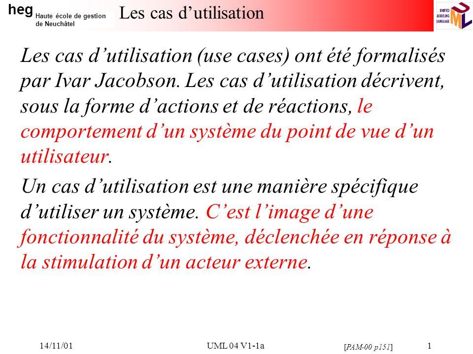 heg Haute école de gestion de Neuchâtel 14/11/01UML 04 V1-1a12 Règles de mise en œuvre des cas dutilisation La description des cas dutilisation comprend: –Le début du cas dutilisation.