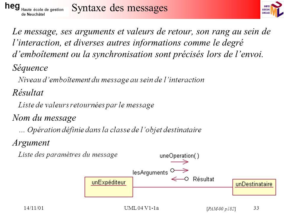 heg Haute école de gestion de Neuchâtel 14/11/01UML 04 V1-1a33 Syntaxe des messages Le message, ses arguments et valeurs de retour, son rang au sein de linteraction, et diverses autres informations comme le degré demboîtement ou la synchronisation sont précisés lors de lenvoi.