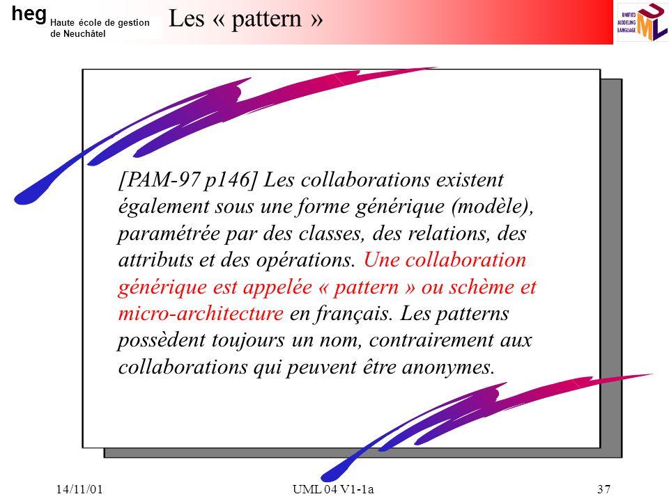 heg Haute école de gestion de Neuchâtel 14/11/01UML 04 V1-1a37 Les « pattern » [PAM-97 p146] Les collaborations existent également sous une forme générique (modèle), paramétrée par des classes, des relations, des attributs et des opérations.