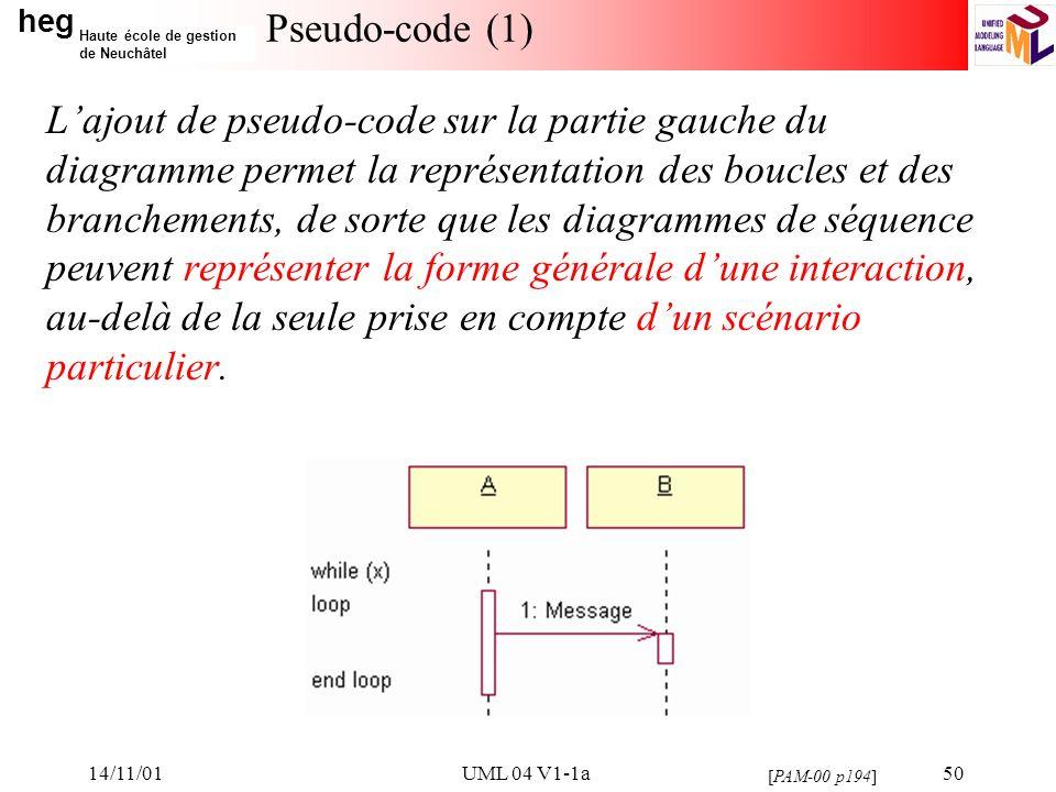 heg Haute école de gestion de Neuchâtel 14/11/01UML 04 V1-1a50 Pseudo-code (1) Lajout de pseudo-code sur la partie gauche du diagramme permet la représentation des boucles et des branchements, de sorte que les diagrammes de séquence peuvent représenter la forme générale dune interaction, au-delà de la seule prise en compte dun scénario particulier.