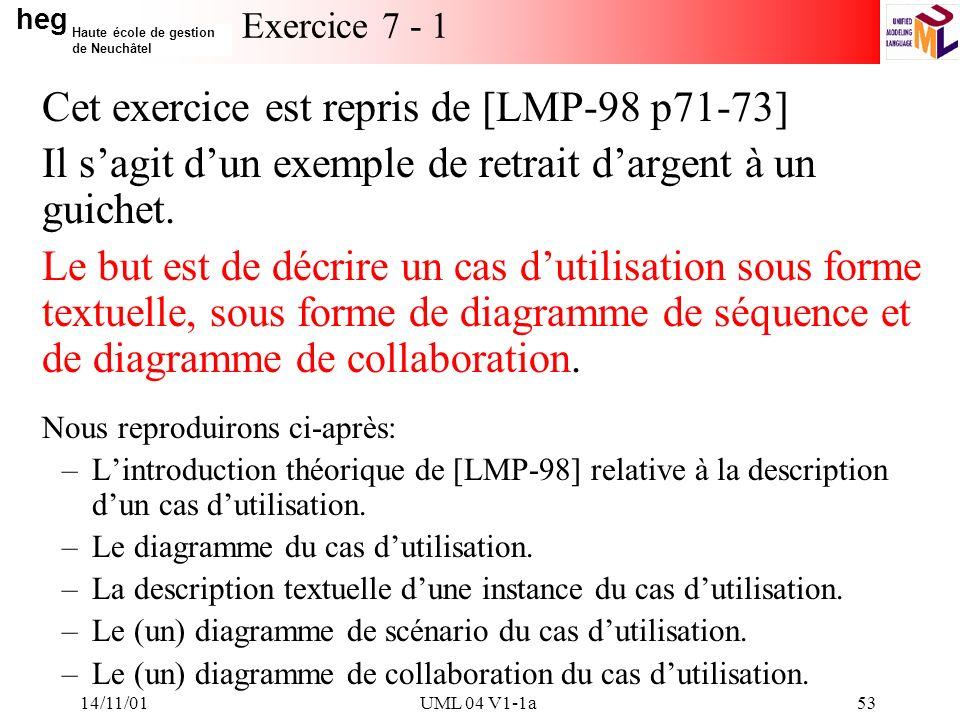 heg Haute école de gestion de Neuchâtel 14/11/01UML 04 V1-1a53 Exercice 7 - 1 Cet exercice est repris de [LMP-98 p71-73] Il sagit dun exemple de retrait dargent à un guichet.