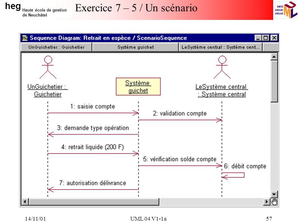 heg Haute école de gestion de Neuchâtel 14/11/01UML 04 V1-1a57 Exercice 7 – 5 / Un scénario