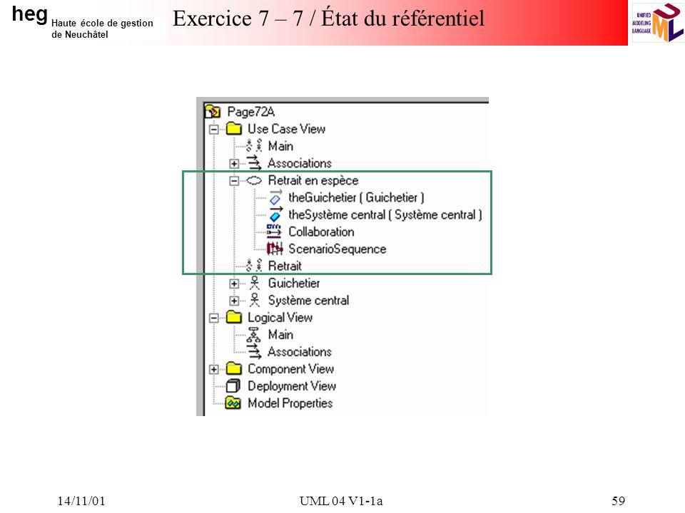 heg Haute école de gestion de Neuchâtel 14/11/01UML 04 V1-1a59 Exercice 7 – 7 / État du référentiel