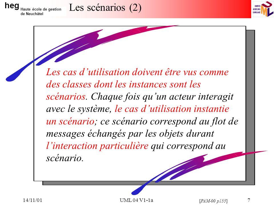 heg Haute école de gestion de Neuchâtel 14/11/01UML 04 V1-1a7 Les scénarios (2) [PAM-00 p155] Les cas dutilisation doivent être vus comme des classes dont les instances sont les scénarios.