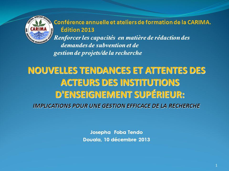 Conférence annuelle et ateliers de formation de la CARIMA. Édition 2013 Renforcer les capacités en matière de rédaction des demandes de subvention et