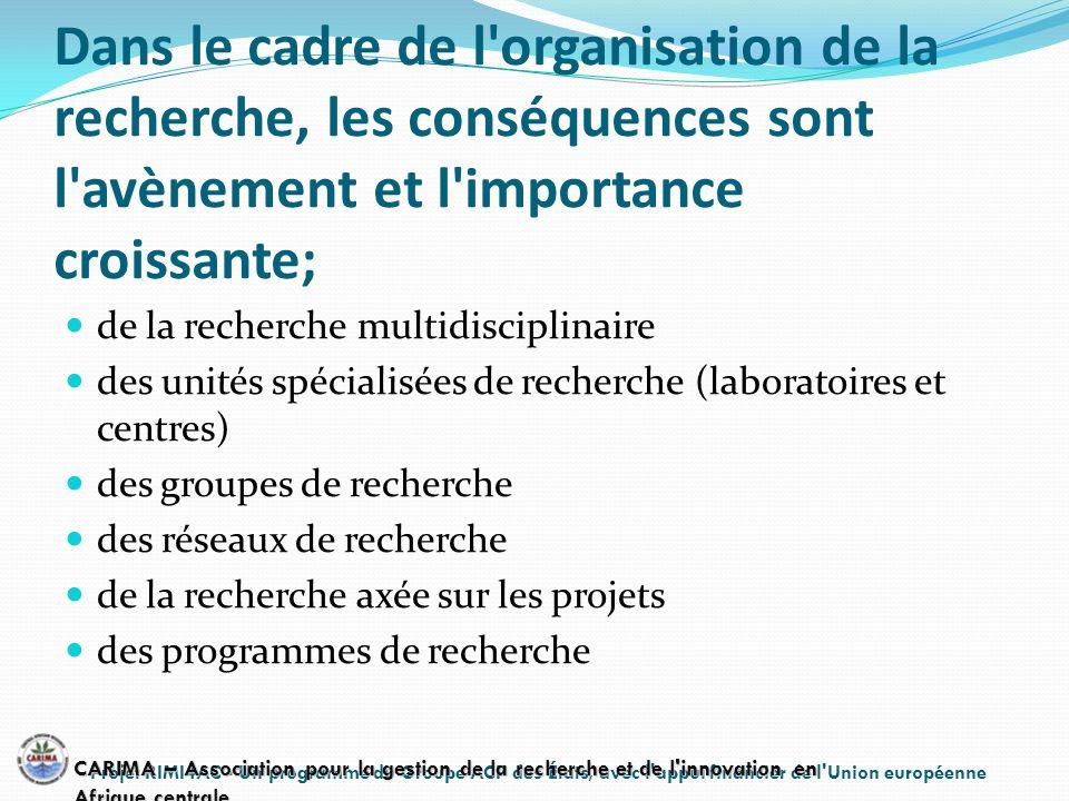 Dans le cadre de l'organisation de la recherche, les conséquences sont l'avènement et l'importance croissante; de la recherche multidisciplinaire des