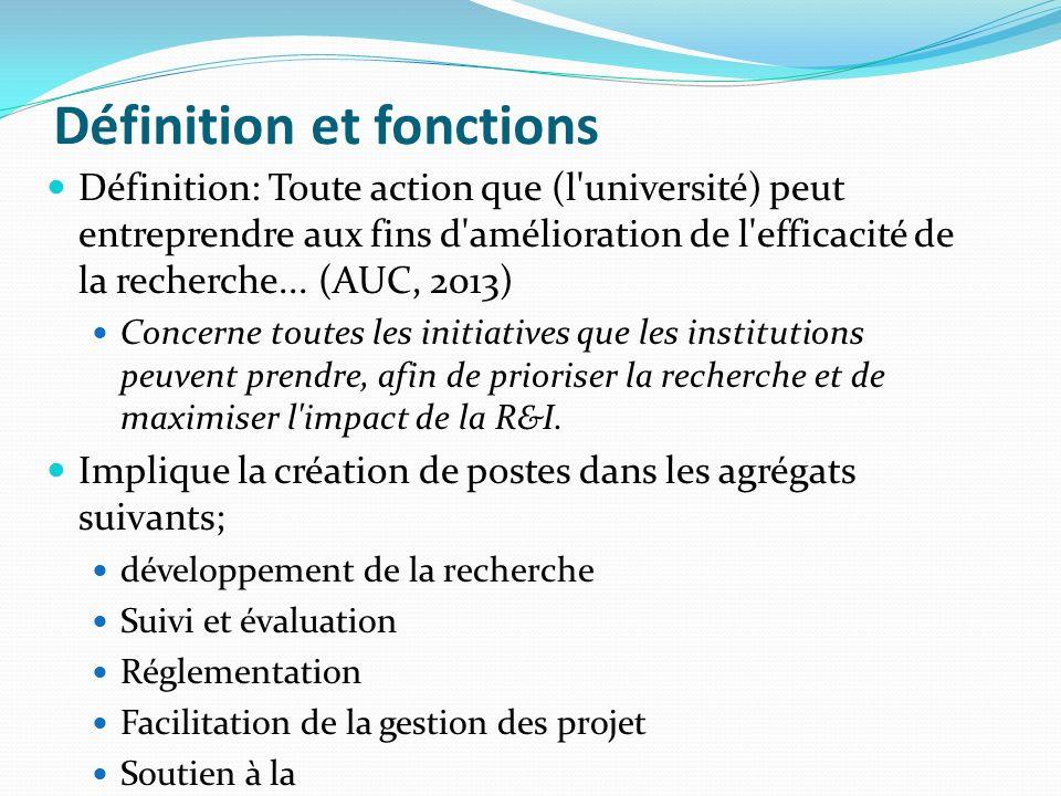 Définition et fonctions Définition: Toute action que (l'université) peut entreprendre aux fins d'amélioration de l'efficacité de la recherche... (AUC,