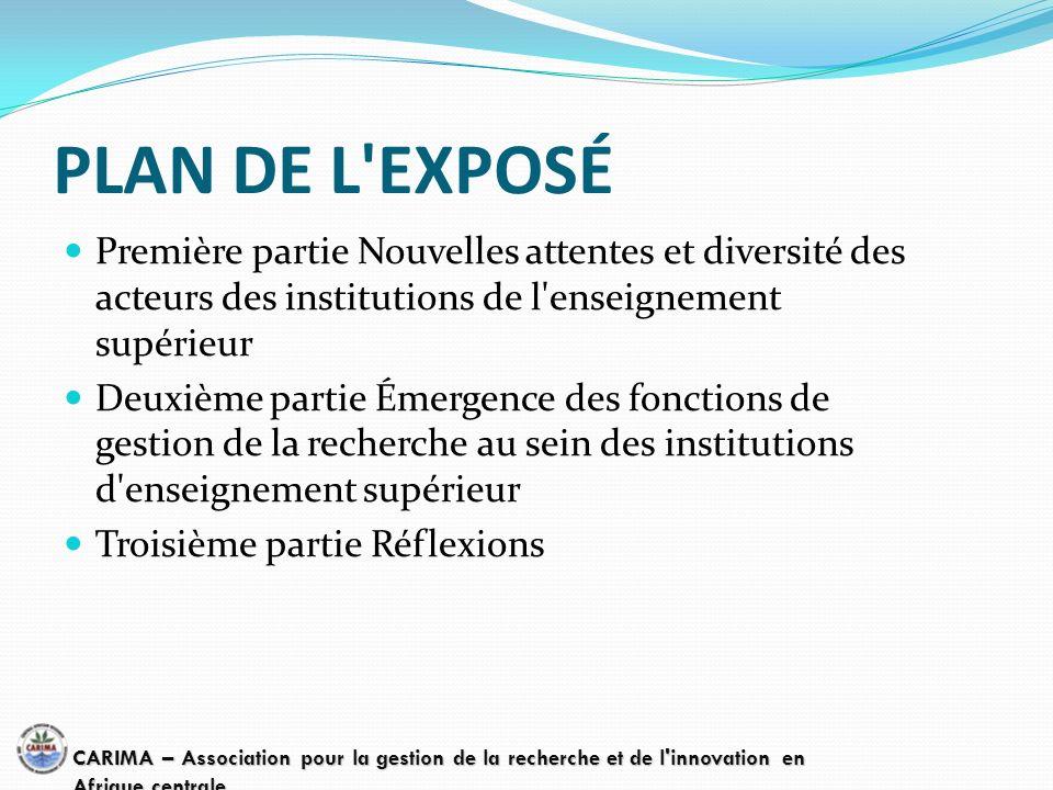 PLAN DE L'EXPOSÉ Première partie Nouvelles attentes et diversité des acteurs des institutions de l'enseignement supérieur Deuxième partie Émergence de
