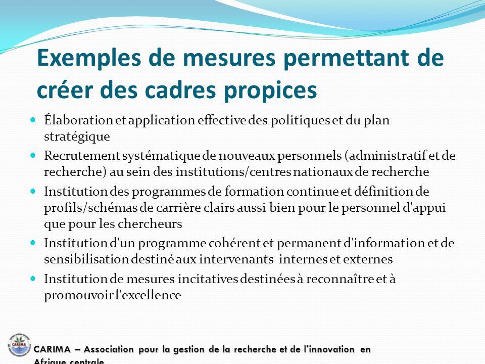 Exemples de mesures permettant de créer des cadres propices Élaboration et application effective des politiques et du plan stratégique Recrutement sys