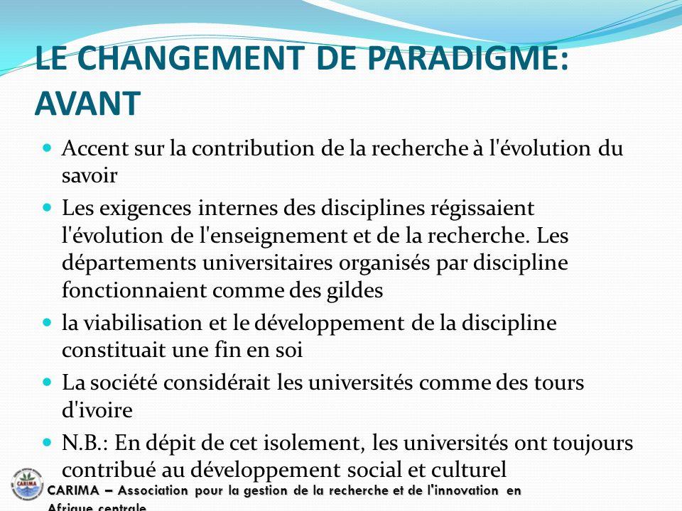 LE CHANGEMENT DE PARADIGME: AVANT Accent sur la contribution de la recherche à l'évolution du savoir Les exigences internes des disciplines régissaien