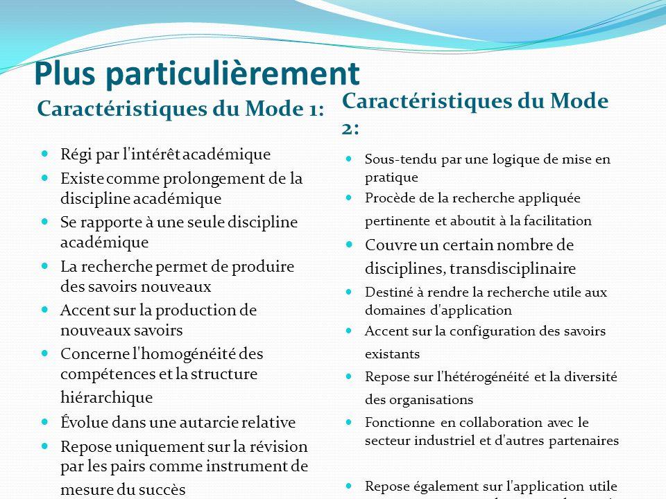 Plus particulièrement Caractéristiques du Mode 1: Caractéristiques du Mode 2: Régi par l'intérêt académique Existe comme prolongement de la discipline