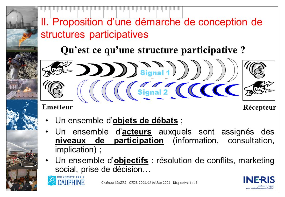 Chabane MAZRI – OPDE 2008, 05-06 Juin 2008 - Diapositive 6 / 13 II. Proposition dune démarche de conception de structures participatives Un ensemble d