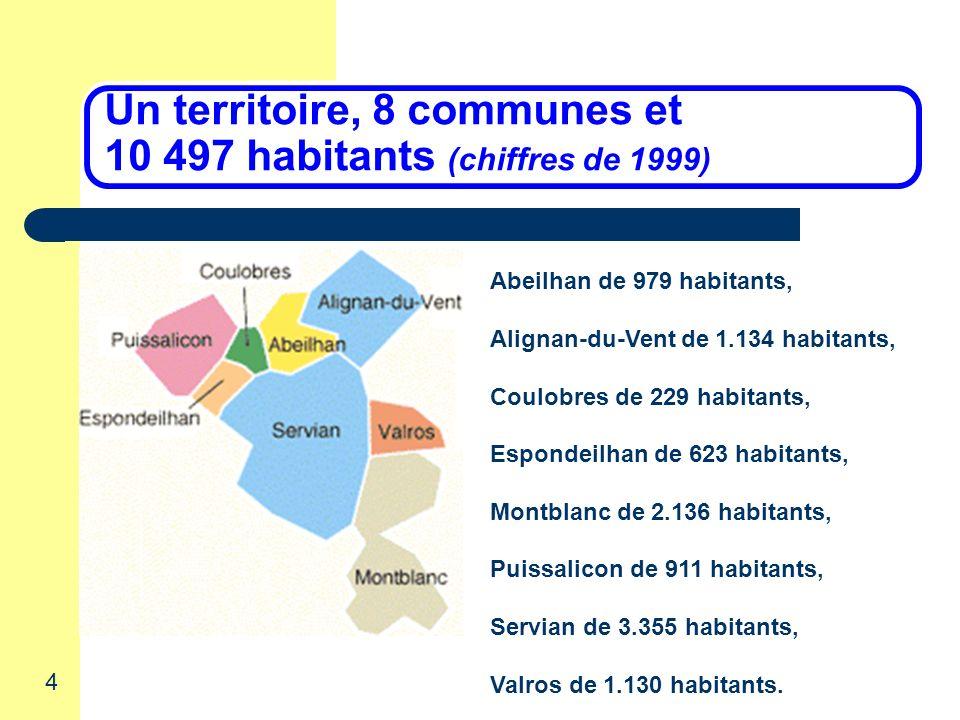 4 Rencontres des associations locales Un territoire, 8 communes et 10 497 habitants (chiffres de 1999) Abeilhan de 979 habitants, Alignan-du-Vent de 1.134 habitants, Coulobres de 229 habitants, Espondeilhan de 623 habitants, Montblanc de 2.136 habitants, Puissalicon de 911 habitants, Servian de 3.355 habitants, Valros de 1.130 habitants.