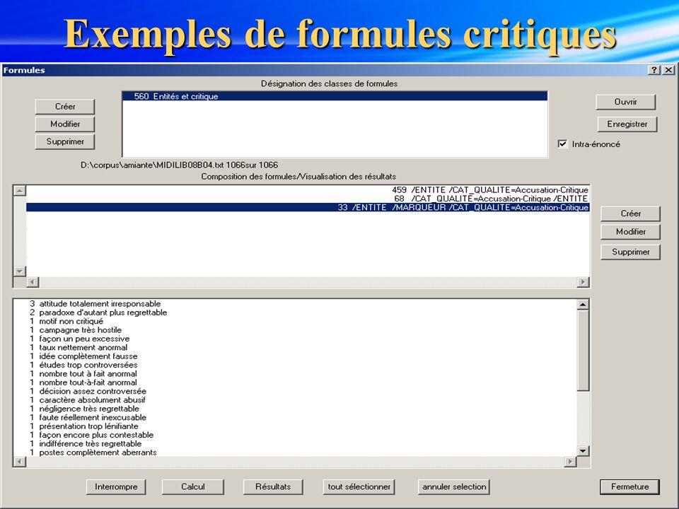 10 Exemples de formules critiques