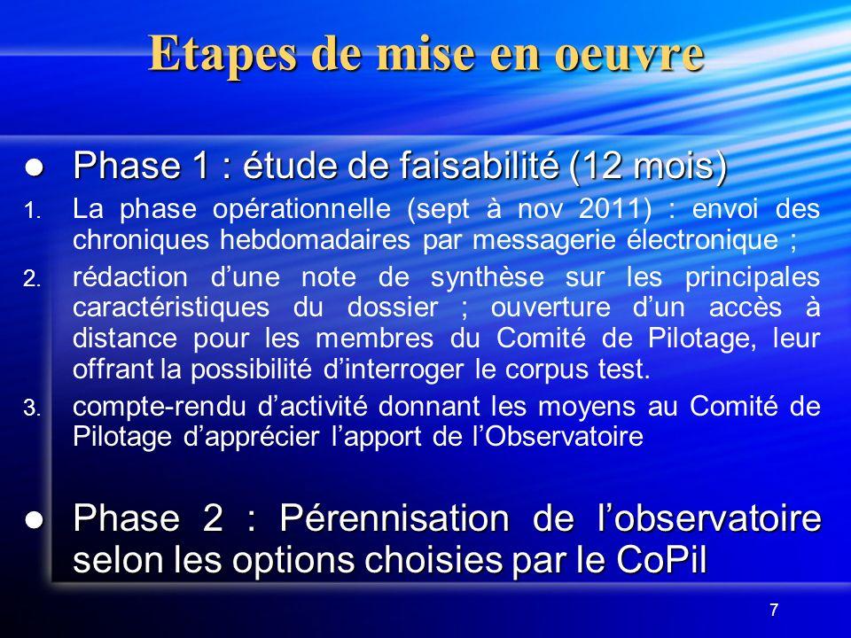 7 Etapes de mise en oeuvre Phase 1 : étude de faisabilité (12 mois) Phase 1 : étude de faisabilité (12 mois) 1.