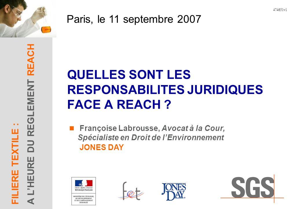 Paris, le 11 septembre 2007 FILIERE TEXTILE : A LHEURE DU REGLEMENT REACH 474651v1 QUELLES SONT LES RESPONSABILITES JURIDIQUES FACE A REACH .