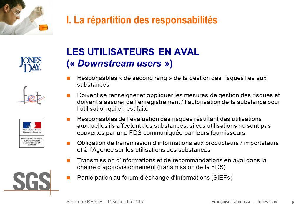 9 Séminaire REACH – 11 septembre 2007Françoise Labrousse – Jones Day I. La répartition des responsabilités LES UTILISATEURS EN AVAL (« Downstream user