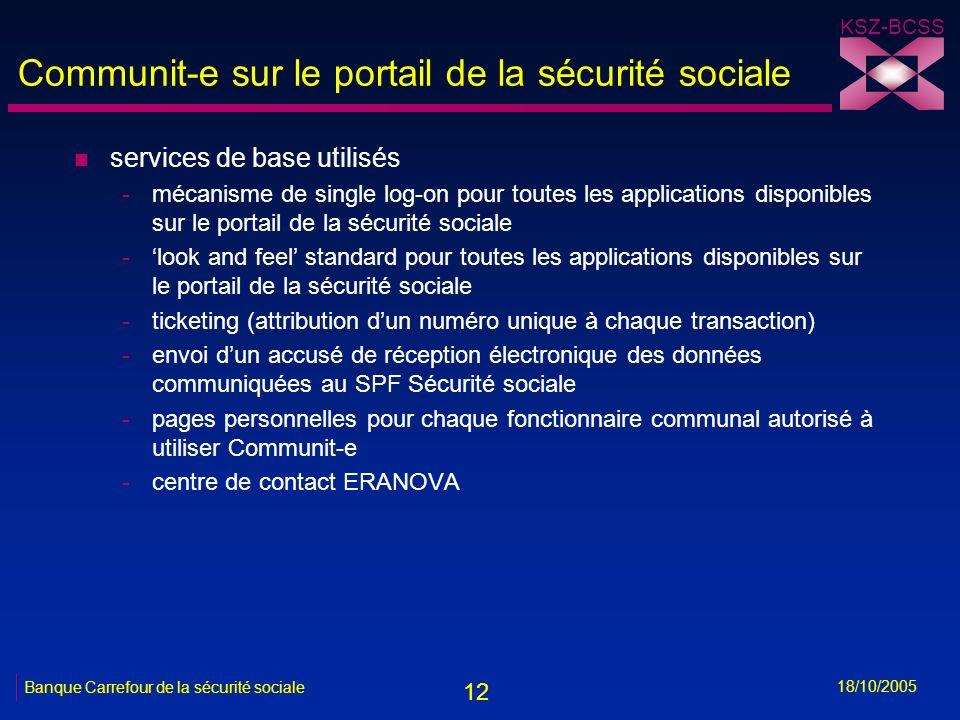 12 KSZ-BCSS 18/10/2005 Banque Carrefour de la sécurité sociale Communit-e sur le portail de la sécurité sociale n services de base utilisés -mécanisme