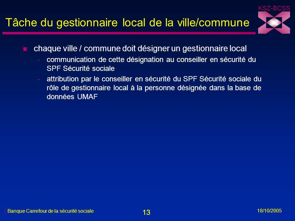 13 KSZ-BCSS 18/10/2005 Banque Carrefour de la sécurité sociale Tâche du gestionnaire local de la ville/commune n chaque ville / commune doit désigner