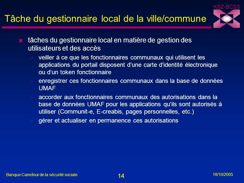 14 KSZ-BCSS 18/10/2005 Banque Carrefour de la sécurité sociale Tâche du gestionnaire local de la ville/commune n tâches du gestionnaire local en matiè