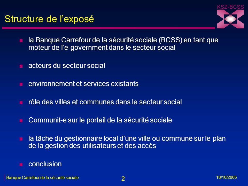 2 KSZ-BCSS 18/10/2005 Banque Carrefour de la sécurité sociale Structure de lexposé n la Banque Carrefour de la sécurité sociale (BCSS) en tant que mot