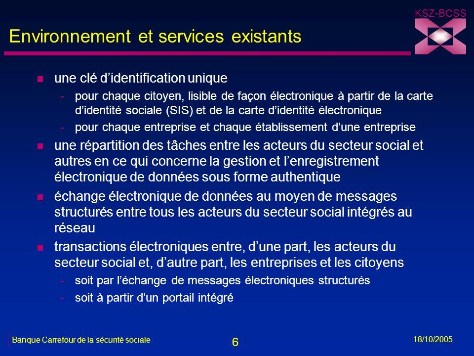 7 KSZ-BCSS 18/10/2005 Banque Carrefour de la sécurité sociale Environnement et services existants n un portail intégré avec -des informations sur tous les aspects de la sécurité sociale -des transactions électroniques pour les entreprises, les citoyens et les professionnels du secteur social (e.a.