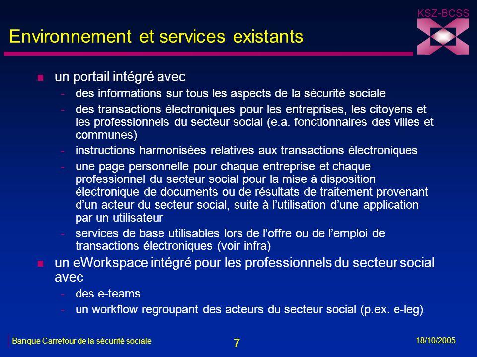 7 KSZ-BCSS 18/10/2005 Banque Carrefour de la sécurité sociale Environnement et services existants n un portail intégré avec -des informations sur tous