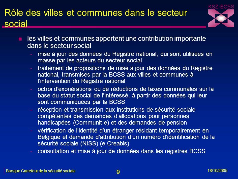 9 KSZ-BCSS 18/10/2005 Banque Carrefour de la sécurité sociale Rôle des villes et communes dans le secteur social n les villes et communes apportent un