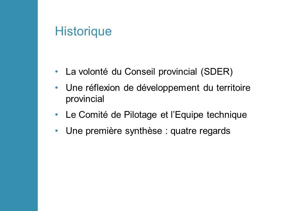 Historique La volonté du Conseil provincial (SDER) Une réflexion de développement du territoire provincial Le Comité de Pilotage et lEquipe technique Une première synthèse : quatre regards
