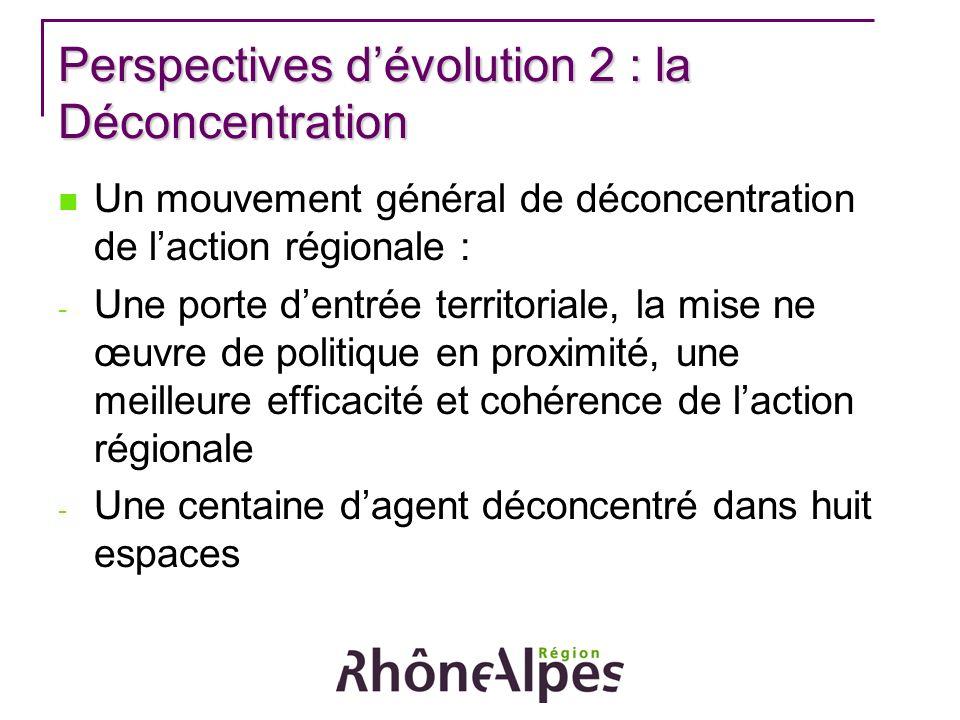 Perspectives dévolution 2 : la Déconcentration Un mouvement général de déconcentration de laction régionale : - Une porte dentrée territoriale, la mise ne œuvre de politique en proximité, une meilleure efficacité et cohérence de laction régionale - Une centaine dagent déconcentré dans huit espaces