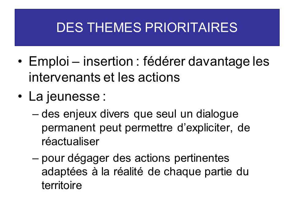 DES THEMES PRIORITAIRES Emploi – insertion : fédérer davantage les intervenants et les actions La jeunesse : –des enjeux divers que seul un dialogue p