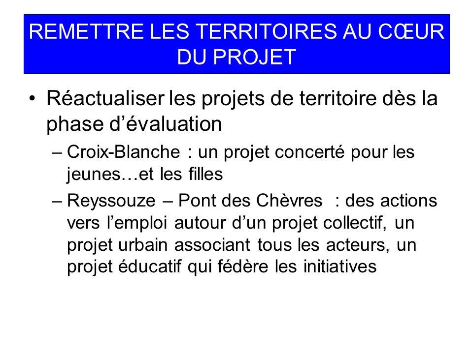 REMETTRE LES TERRITOIRES AU CŒUR DU PROJET Réactualiser les projets de territoire dès la phase dévaluation –Croix-Blanche : un projet concerté pour le