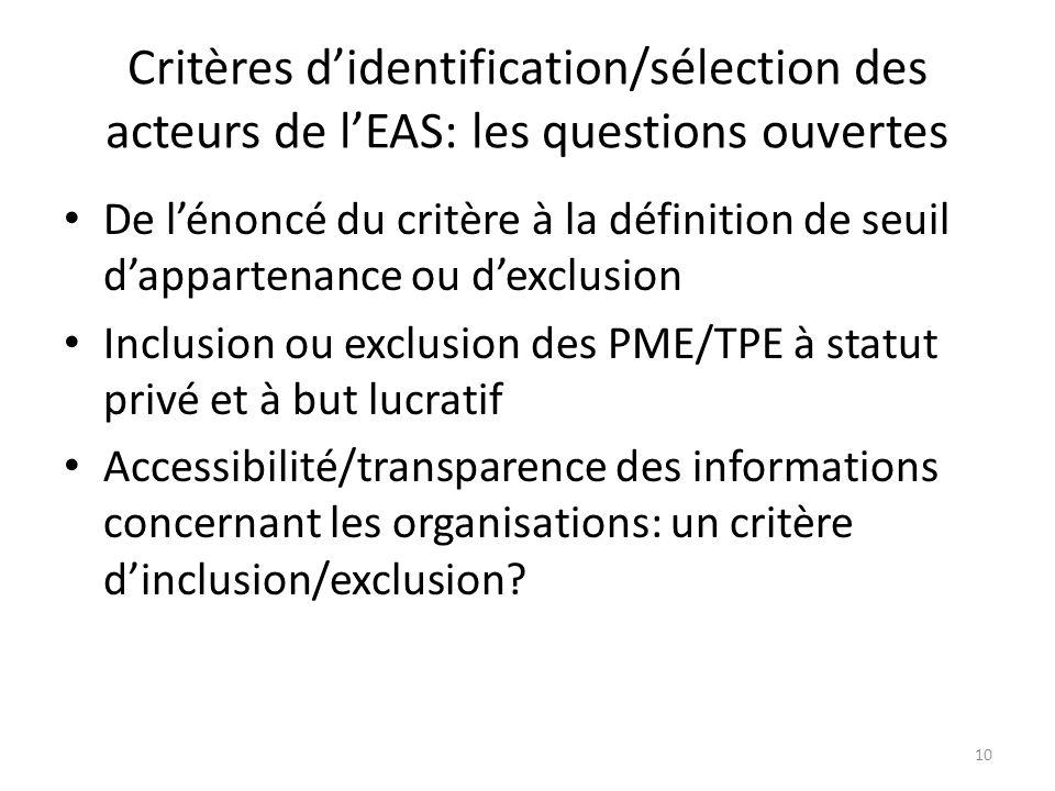 Critères didentification/sélection des acteurs de lEAS: les questions ouvertes De lénoncé du critère à la définition de seuil dappartenance ou dexclus