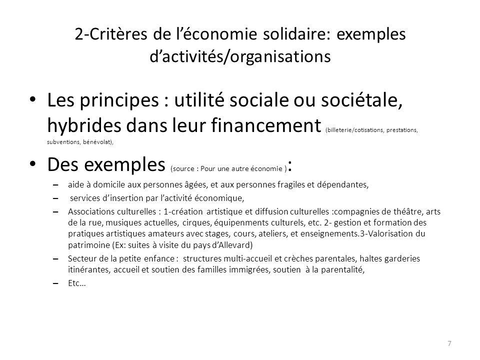 2-Critères de léconomie solidaire: exemples dactivités/organisations Les principes : utilité sociale ou sociétale, hybrides dans leur financement (bil