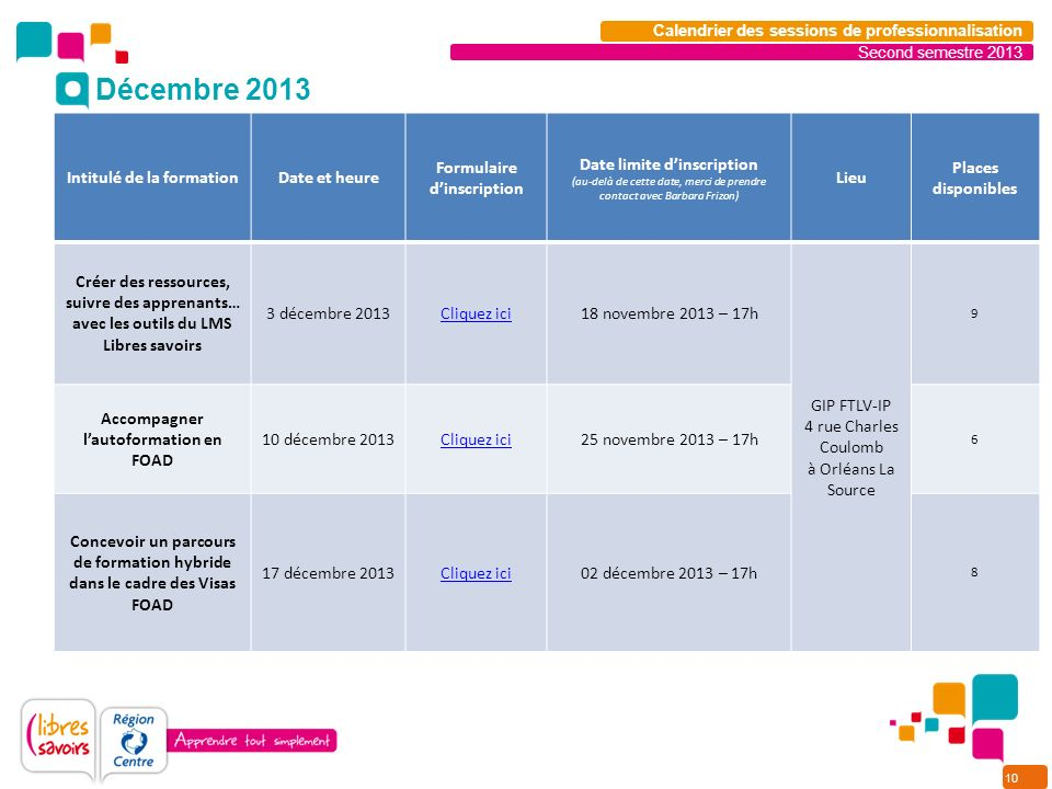 10 Second semestre 2013 Calendrier des sessions de professionnalisation Intitulé de la formationDate et heure Formulaire dinscription Date limite dins