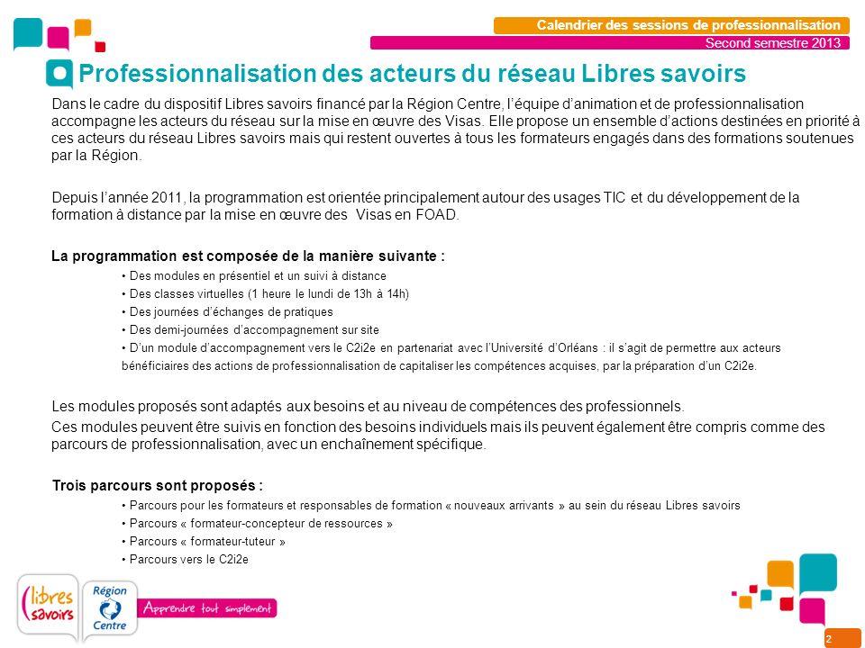 2 Calendrier des sessions de professionnalisation Dans le cadre du dispositif Libres savoirs financé par la Région Centre, léquipe danimation et de professionnalisation accompagne les acteurs du réseau sur la mise en œuvre des Visas.