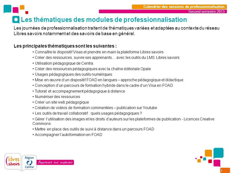 3 Second semestre 2013 Calendrier des sessions de professionnalisation Les journées de professionnalisation traitent de thématiques variées et adaptées au contexte du réseau Libres savoirs notamment et des savoirs de base en général.