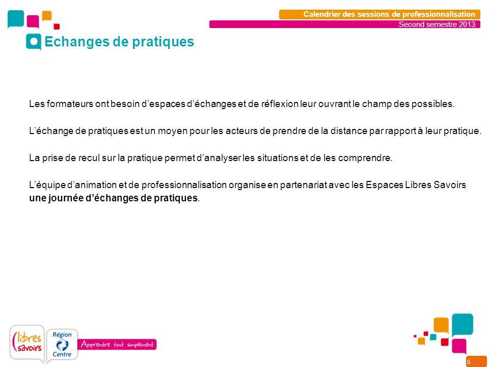 5 Second semestre 2013 Calendrier des sessions de professionnalisation Les formateurs ont besoin despaces déchanges et de réflexion leur ouvrant le ch