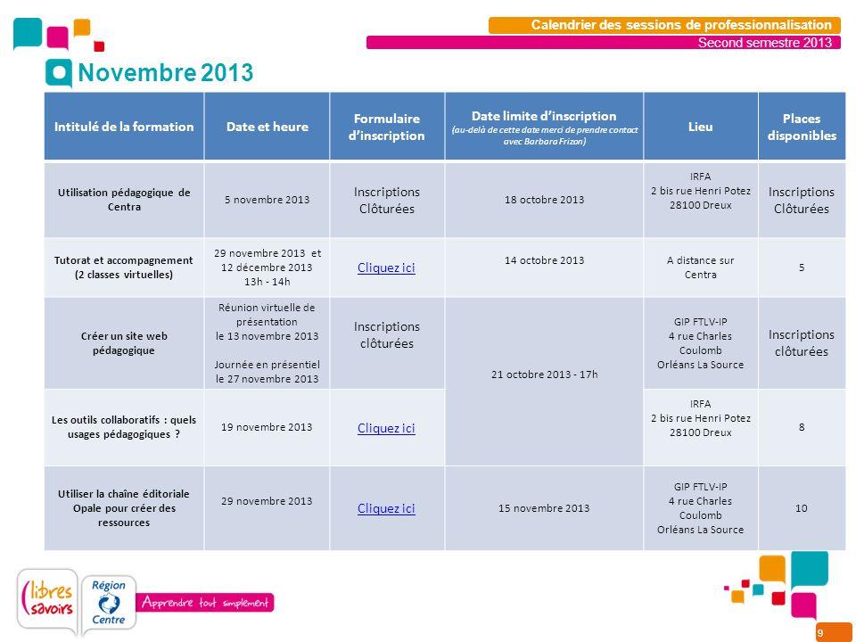 9 Second semestre 2013 Calendrier des sessions de professionnalisation Intitulé de la formationDate et heure Formulaire dinscription Date limite dinsc