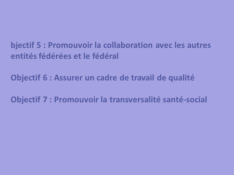 O bjectif 5 : Promouvoir la collaboration avec les autres entités fédérées et le fédéral Objectif 6 : Assurer un cadre de travail de qualité Objectif 7 : Promouvoir la transversalité santé-social