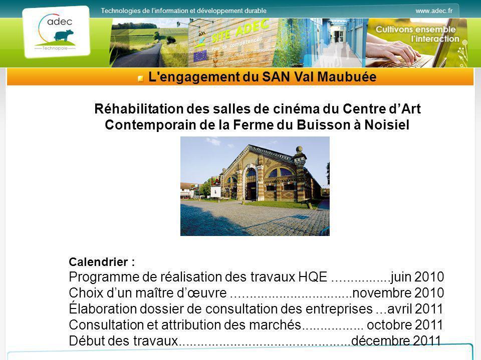 www.adec.frTechnologies de linformation et développement durable L'engagement du SAN Val Maubuée Réhabilitation des salles de cinéma du Centre dArt Co