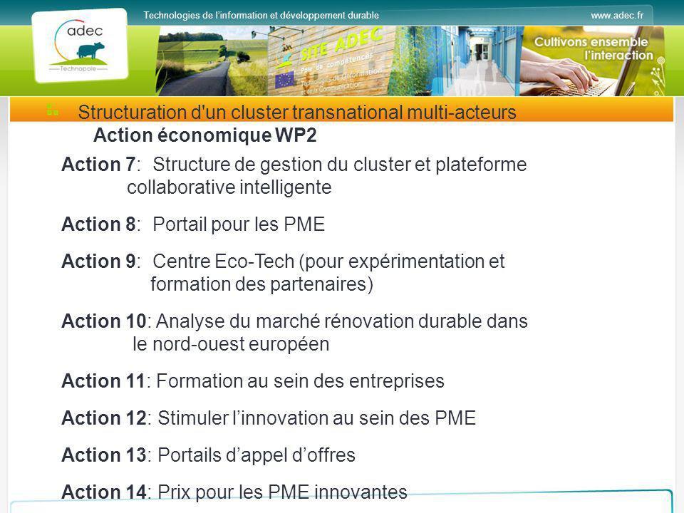 www.adec.frTechnologies de linformation et développement durable Structuration d'un cluster transnational multi-acteurs Action économique WP2 Action 7
